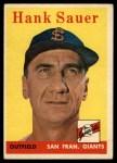 1958 Topps #378  Hank Sauer  Front Thumbnail