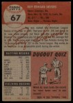 1953 Topps #67  Roy Sievers  Back Thumbnail
