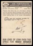 1959 Topps #106  Joe Fortunato  Back Thumbnail