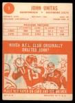 1963 Topps #1  Johnny Unitas  Back Thumbnail