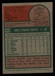 1975 Topps #429   Jim Dwyer Back Thumbnail