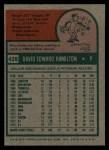1975 Topps #428  Dave Hamilton  Back Thumbnail
