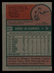 1975 Topps #431   Rod Gilbreath Back Thumbnail