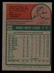 1975 Topps #434   Bob Locker Back Thumbnail