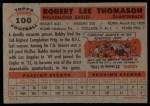 1956 Topps #100   Bob Thomason Back Thumbnail