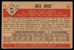 1953 Bowman #53  Del Rice  Back Thumbnail