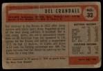 1954 Bowman #32  Del Crandall  Back Thumbnail