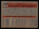 1957 Topps #210  Roy Campanella  Back Thumbnail