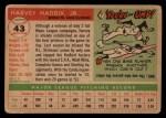 1955 #43  Harvey Haddix  Back Thumbnail