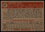 1952 Topps #109   Ted Wilks Back Thumbnail