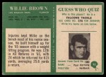 1966 Philadelphia #93   Willie Brown Back Thumbnail