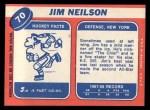 1968 Topps #70   Jim Neilson Back Thumbnail