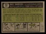1961 Topps #32   Ray Sadecki Back Thumbnail