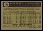 1961 Topps #139   Solly Hemus Back Thumbnail
