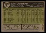 1961 Topps #107 ERR  Seth Moorehead Back Thumbnail