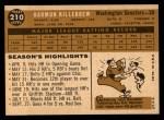 1960 Topps #210  Harmon Killebrew  Back Thumbnail