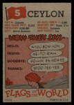 1956 Topps Flags of the World #5   Ceylon Back Thumbnail