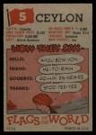 1956 Topps Flags of the World #5  Ceylon  Back Thumbnail
