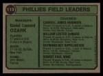 1974 Topps #119  Phillies Field Leaders   -  Danny Ozark / Carroll Beringer / Bill DeMars / Ray Ripplemeyer / Bobby Wine Back Thumbnail