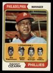 1974 Topps #119  Phillies Field Leaders   -  Danny Ozark / Carroll Beringer / Bill DeMars / Ray Ripplemeyer / Bobby Wine Front Thumbnail