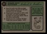 1974 Topps #47   Dick Ruthven Back Thumbnail