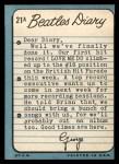 1964 Topps Beatles Diary #21 A  John Lennon Back Thumbnail