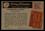 1955 Bowman #99   Jerry Coleman Back Thumbnail