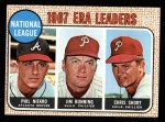 1968 Topps #7  1967 NL ERA Leaders  -  Jim Bunning / Phil Niekro / Chris Short Front Thumbnail