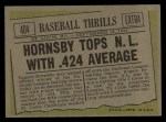 1961 Topps #404  Hornsby Tops NL With .424 Average  -  Rogers Hornsby Back Thumbnail