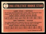 1966 Topps #107  A's Rookies  -  Larry Stahl / Ron Tompkins Back Thumbnail