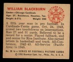1950 Bowman #56   William Blackburn Back Thumbnail