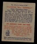 1949 Bowman #145   Sylvester Donnelly Back Thumbnail