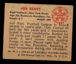1950 Bowman #68   Joe Scott Back Thumbnail
