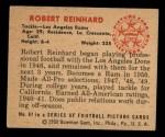 1950 Bowman #87  Robert Reinhard  Back Thumbnail