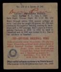 1949 Bowman #138   Warren Rosar Back Thumbnail
