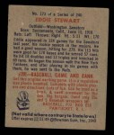 1949 Bowman #173   Ed Stewart Back Thumbnail