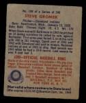1949 Bowman #198  Steve Gromek  Back Thumbnail