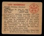 1950 Bowman #94   Lou Boudreau Back Thumbnail
