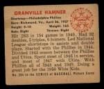 1950 Bowman #204  Granny Hamner  Back Thumbnail