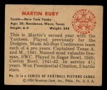1950 Bowman #13   Martin Ruby Back Thumbnail