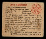 1950 Bowman #68   Curt Simmons Back Thumbnail