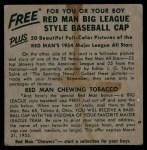 1954 Red Man #22 ALx Ferris Fain  Back Thumbnail