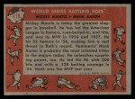 1958 Topps #418  World Series Batting Foes    -  Mickey Mantle / Hank Aaron Back Thumbnail