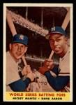 1958 Topps #418  World Series Batting Foes    -  Mickey Mantle / Hank Aaron Front Thumbnail