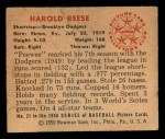 1950 Bowman #21   Pee Wee Reese Back Thumbnail