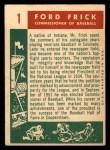 1959 Topps #1  Commissioner of Baseball  -  Ford Frick Back Thumbnail