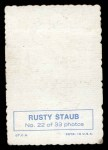 1969 Topps Deckle Edge #22 A  Rusty Staub     Back Thumbnail