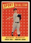 1958 Topps #487  All-Star  -  Mickey Mantle Front Thumbnail