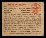 1950 Bowman #19  Warren Spahn  Back Thumbnail