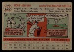 1956 Topps #120   Richie Ashburn Back Thumbnail